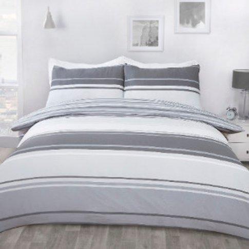 Richmond Stripe Duvet Cover And Pillowcase Set - Gre...