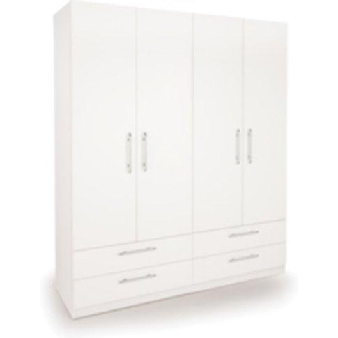 Ashburton Four Door Four Drawer Wardrobe - White / W...
