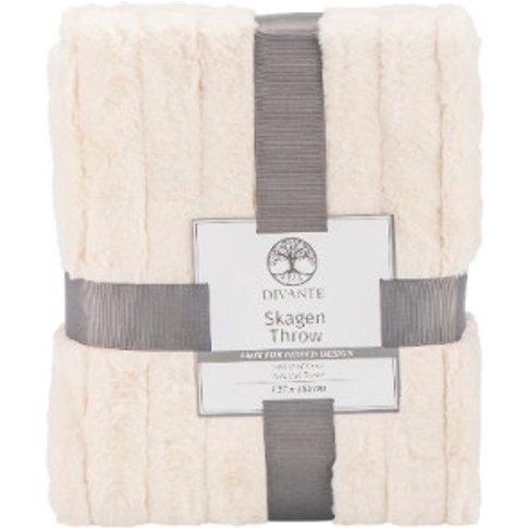 Skagen Faux Fur Throw - Cream