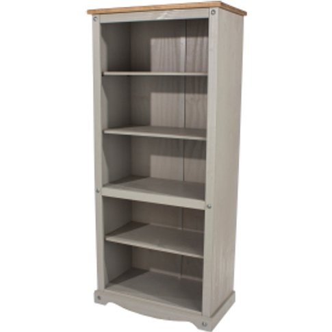 Corona Grey Washed Tall Bookcase - Grey Wash