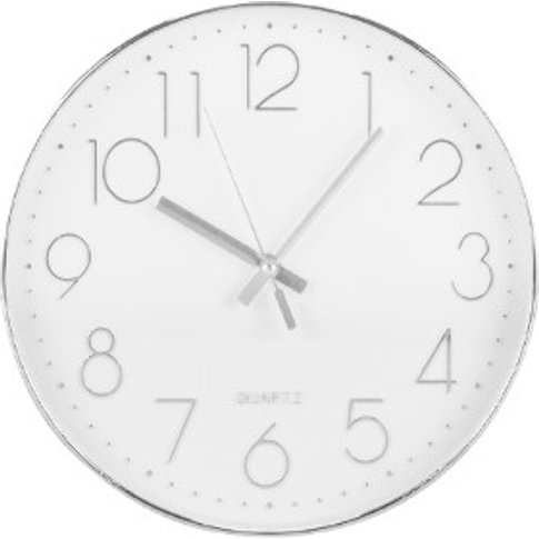 Silver Numbers Wall Clock