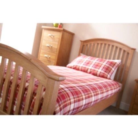 Madrid High Foot End Bed Frame - Oak / Single