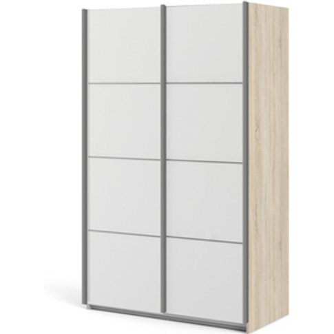 Valentino Sliding Wardrobe 120cm In Oak With White D...