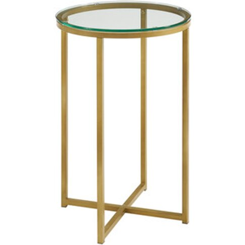 Rosa Round Side Table - Glass & Gold