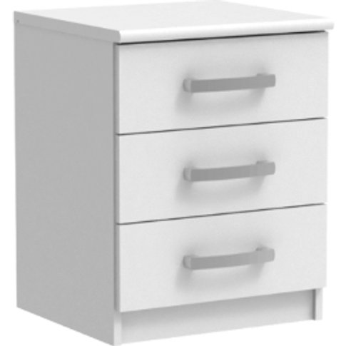Riviera Three Drawer Bedside Table - White
