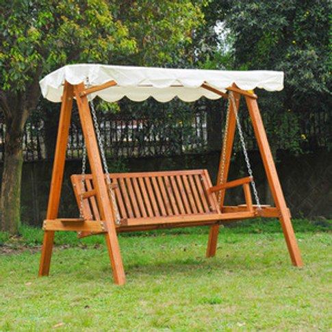 Swing Chair 3 Seater Swinging Wooden Hammock - Cream