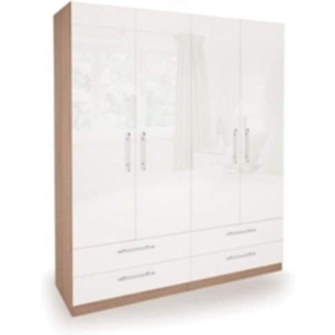 Ashburton Four Door Four Drawer Wardrobe - Oak / Glo...