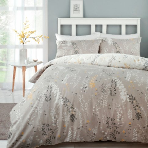 Meadow Haze Ochre Printed Duvet Cover And Pillowcase...