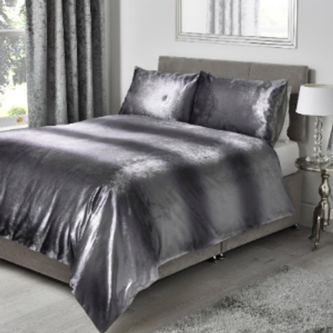 Ombre Velvet Stripe Duvet Cover And Pillowcase Set - Grey / Double