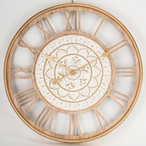 Round Ornate White Clock