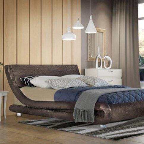 Modern Curved Brown Crushed Velvet Bed Frame