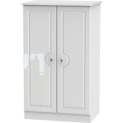 Balmoral 2ft6 Midi Wardrobe With Crystal Effect Handles - White Gloss