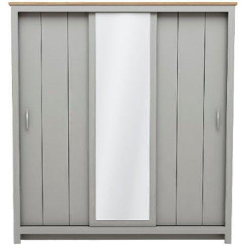 Lexington 3 Door Sliding Wardrobe With Mirror - Grey
