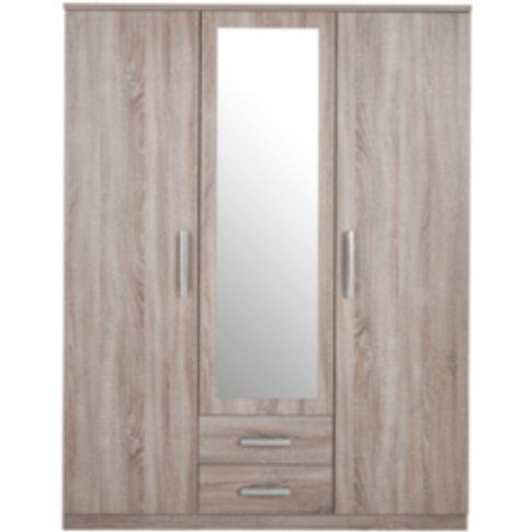 Riviera Three Door Two Drawer Mirror Wardrobe - Ligh...