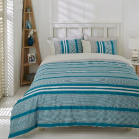 Marlow Stripe Duvet Cover And Pillowcase Set - Petro...