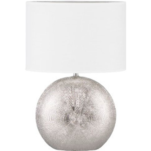Hand Etched Table Lamp - Silver