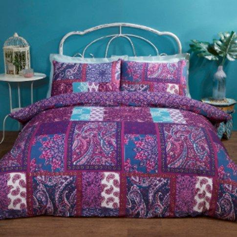 Amelia Patchwork Purple Duvet Cover and Pillowcase S...