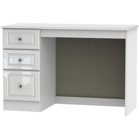Balmoral White Gloss Desk With Crystal Effect Handle...