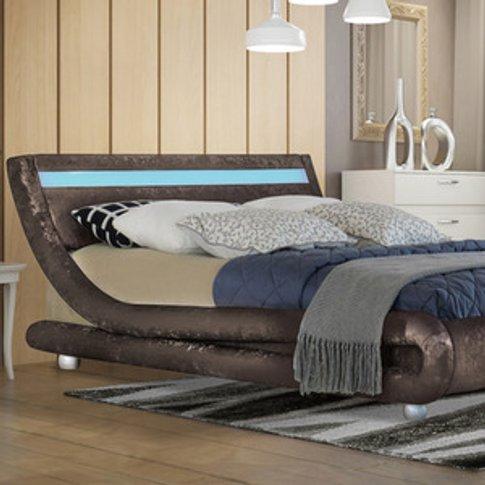 Modern Led Curved Brown Crushed Velvet Bed Frame