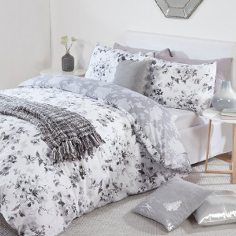 Belle Bouquet Butterfly Duvet Cover And Pillowcase Set - White / King