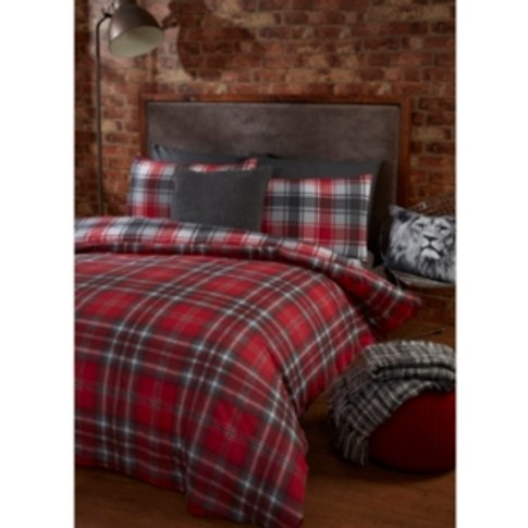 Kirk Check Duvet Cover And Pillowcase Set - Red / Co...