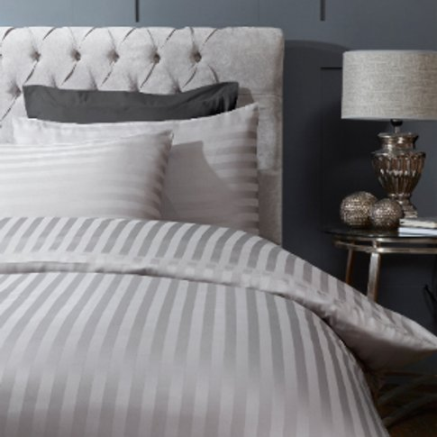 300 Thread Count Sateen Stripe Duvet Cover And Pillo...