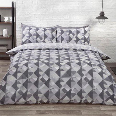 Soho Geometric Duvet Cover And Pillowcase Set - Silv...