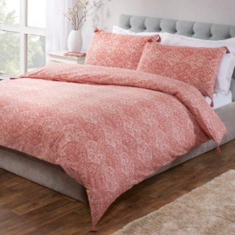 Kasumi Duvet Cover and Pillowcase Set - Terracotta /...