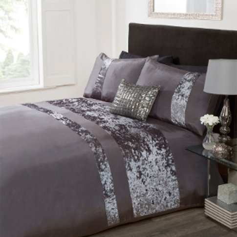 Velvet Stripe Duvet Cover And Pillowcase Set - Charc...