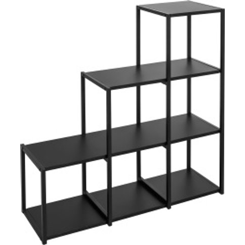 Metal Six Hole Step Shelving Unit - Black
