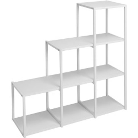 Metal Six Hole Step Shelving Unit - White