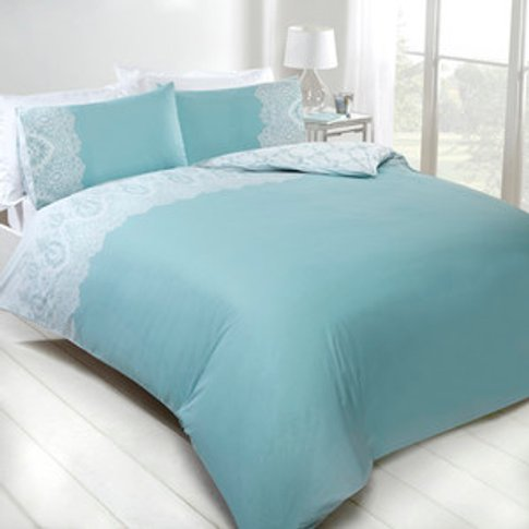 Adeline Lace Duvet Cover And Pillowcase Set - Duck E...