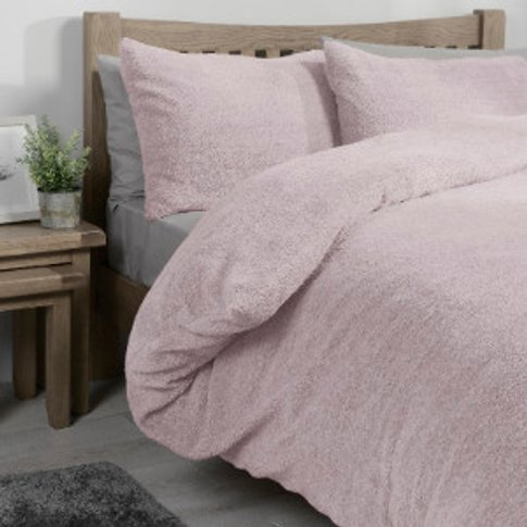 Teddy Fleece Duvet Cover and Pillowcase Set - Blush ...