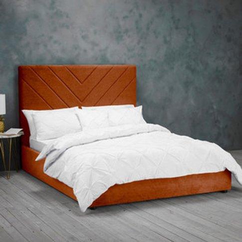 Islington Velvet Bed - Burnt Orange / King