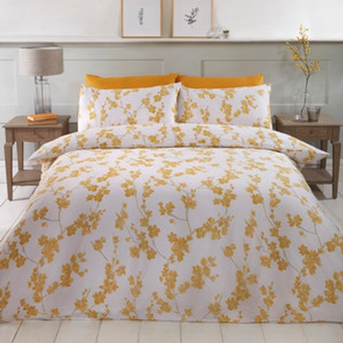 Willow Duvet Cover And Pillowcase Set - Ochre / King