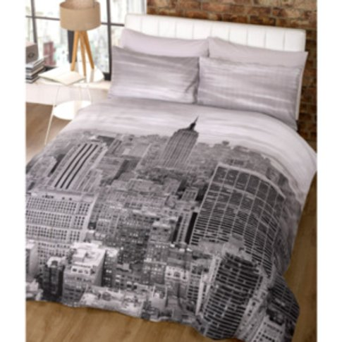 Empire Printed Duvet Cover And Pillowcase Set - Grey...