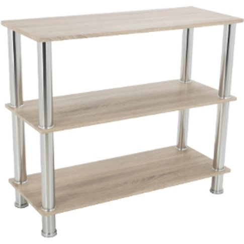 Three Tier Washed Oak Wide Shelving Unit
