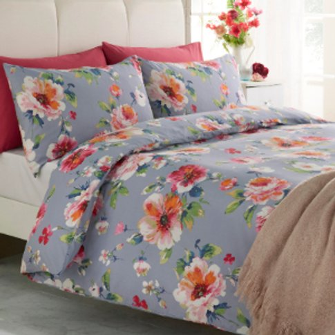 Blooming Florals Blue Printed Duvet Cover And Pillow...
