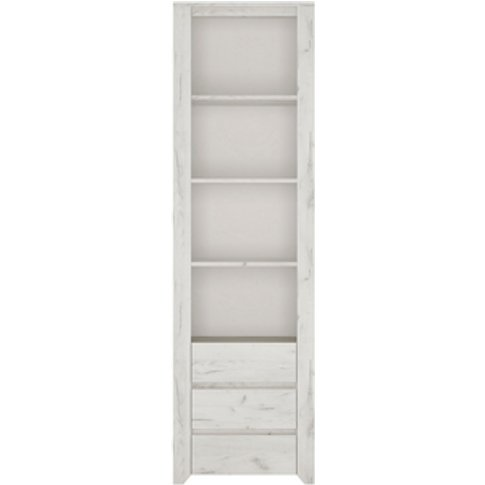 Marbel Tall Narrow Three Drawer Bookcase - White Cra...