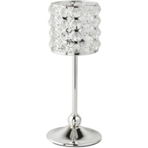 Crystal Gold Tealight Holder On Stand - Grey