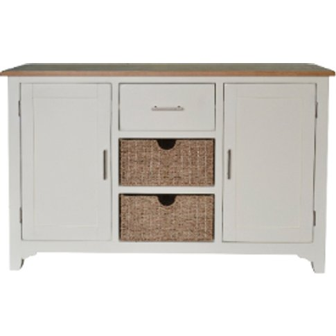 Kansas Painted Sideboard With Baskets - Cream