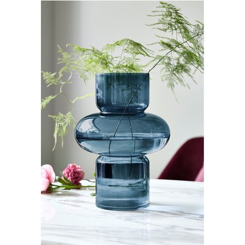 Next Contemporary Shaped Glass Vase -  Blue