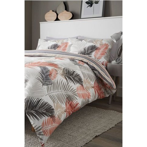 Fusion Tropical Duvet Cover and Pillowcase Set -  Grey