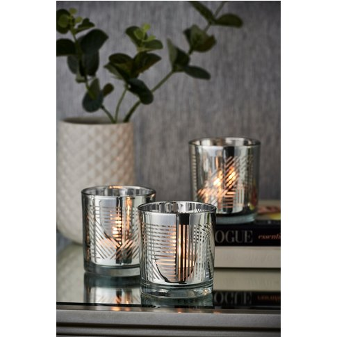 Next Set Of 3 Beaumont Tealight Holders -  Silver