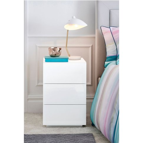 Next Sloane 3 Drawer Bedside Table -  White