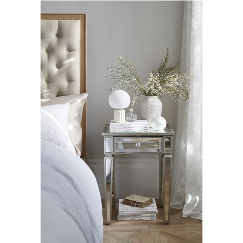 Next Fleur 1 Drawer Bedside Table -  Silver