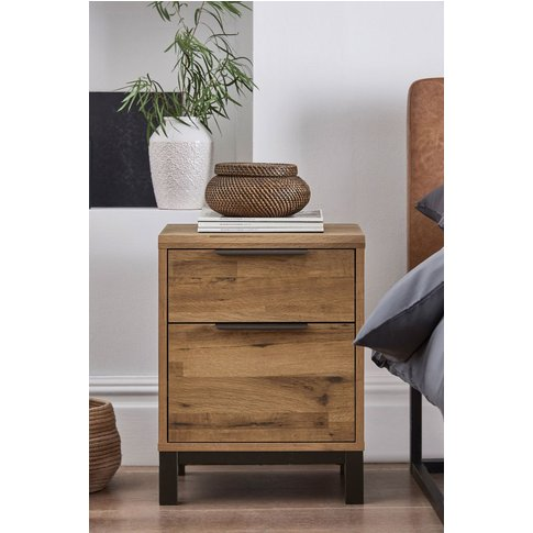 Next Bronx Metal 2 Drawer Bedside Table -  Brown