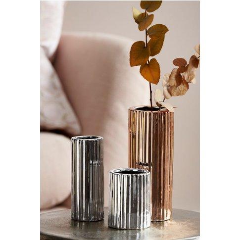 Next Set Of 3 Metallic Ceramic Vases -  Gold