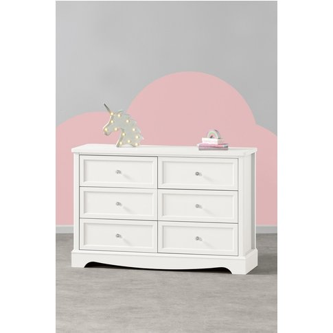 Girls Next Amelia Wide 6 Drawer Chest -  White