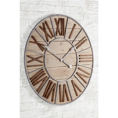 Next Xl Salvage Wall Clock -  Natural